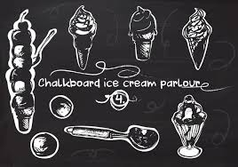 Free Hand Drawn Ice Cream Set On Chalkboard Vector Background