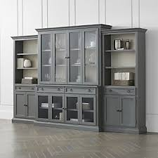 Dining room wall units Buffet Cameo 4piece Modular Grey Glass Door Wall Unit Crate And Barrel Dining Room Storage Crate And Barrel
