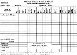 Sunday School Report Template
