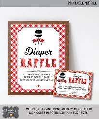 raffle sign babyq diaper raffle cards and sign bbq baby shower diaper raffle