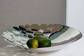 Large Silver Decorative Bowl Decorative Bowl Circles Stainless Steel Silver Shiny Food Safe 9