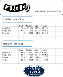 Volcom Pants Size Chart 21 Conclusive Volcom Size Chart Youth