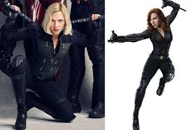 til black widow s infinity war costume is her civil war costume with that greenish jacket on top of course with new hair new batons and new gloves