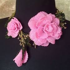 Beaded bridal <b>necklace</b> with beautiful pink roses - Happy wedding ...
