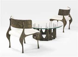 Pair of sculpted bronze chairs by Paul Evans on artnet