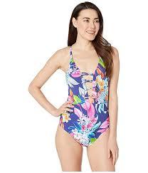 La Blanca Hyper Tropical Plunge Mio One Piece Swimsuit