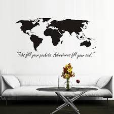 Wereldkaart Muursticker Avonturen Tot Uw Soul Inspiratie Woorden Art