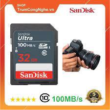 Thẻ nhớ Máy Ảnh SD 32GB Sandisk Ultra Class 10 UHS-I upto 100MB/s (Xám) - Thẻ  nhớ máy ảnh Nhãn hàng SanDisk