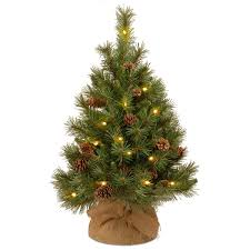 3ft Pre-lit Battery Operated Pine Cone Burlap Artificial Christmas Tree