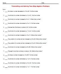 translating algebraic expressions worksheets simplifying worksheet phrases into equations