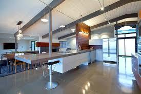 Mid Century Modern Kitchen Design White Rectangle Island Angular Kitchen  Island Turuoise Paint Cabinets Design Open