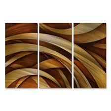 michael lang x27 tri fold ribbon x27 metal wall decor 3 on metal wall art overstock with shop michael lang tri fold ribbon metal wall decor 3 piece set
