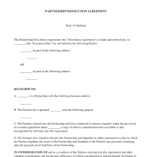Dissolution Of Partnership Agreement Template Partnership ...