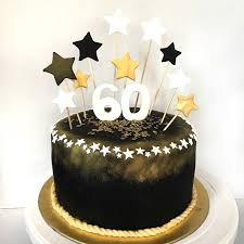 Black And Gold 60th Birthday Cake Sherbakes