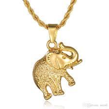 whole hip hop elephant necklace jewelry 18k gold plated mens slides pendant necklaces hip hop chain long necklace drop silver necklace silver