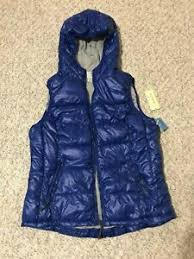 Details About Tangerine Womens Royal Blue Hooded Puffy Vest Size L New With Tag