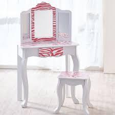 teamson kids childrens pink wooden vanity table stool dressing mirror td 11670b for