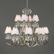 oksana nickel 12 light chandelier with white shades interiors 1900
