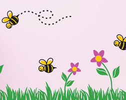 bee decal grass wall decal flower border decal bumble bee decal spring nursery decal wall border bee border baby room nature wall border baby nursery cool bee