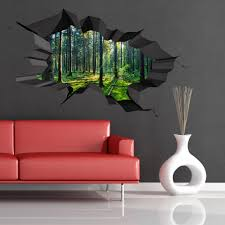 3d Wall Art Full Colour Woods Forest Trees Jungle Cracked 3d Wall Art Sticker