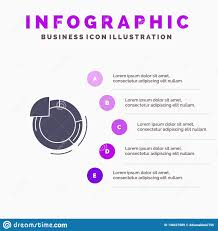 Graph Circle Pie Chart Solid Icon Infographics 5 Steps