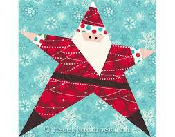 Santa quilt pattern, paper piecing quilt patterns, Christmas ... & Santa quilt pattern, paper piecing quilt patterns, Christmas patterns,  holiday quilt patterns, Santa Star quilt, foundation pieced Adamdwight.com