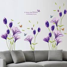 Purple Flower Quotes 60 90cm Large Purple Lily Flower Love Quotes Decorative Living Room