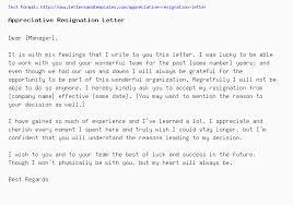 A Resignation Letters Appreciative Resignation Letter