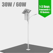 led solar powered street lighting pv photovoltaic led street light 30 60w 1 3days charge