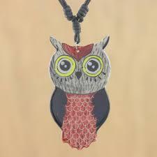 thai handmade ceramic owl pendant necklace alluring red owl
