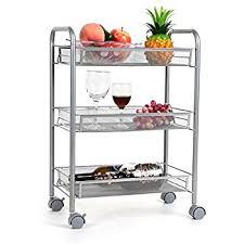 HOMFA 3-Tier Mesh Wire Rolling Cart Multifunction Utility Cart Kitchen  Storage Cart on Wheels