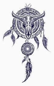 Dream Catcher Symbolism Inspiration Bison Skull And Indian Dream Catcher Tattoo Tribal Art Native