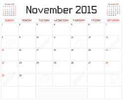 A Monthly Planner Calendar For November 2015 On White A Square