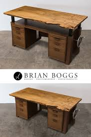 solid wood executive desk with adjule hand crank