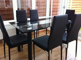glass dining table set. STUNNING GLASS BLACK DINING TABLE SET AND 6 FAUX LEATHER CHAIRS...: Amazon.co.uk: Kitchen \u0026 Home Glass Dining Table Set