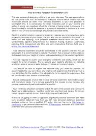 Sample Resume Personal Achievements Contributions Statement