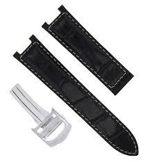 details about 20mm leather watch strap band fit pasha de cartier 1352 2378 2388 black ws 2pcs