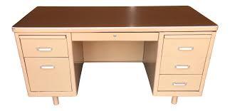 vtg 1940 50s simmons furniture metal medical. Classic Vintage Tanker Desk With Post Pole Legs Vtg 1940 50s Simmons Furniture Metal Medical R