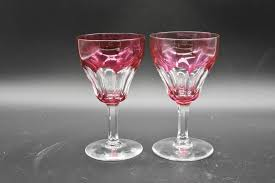 details about 2 val st lambert belgian tilly cranberry pink cut to clear 4 3 4 wine glasses
