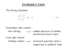 introduction the swing equation generation side control
