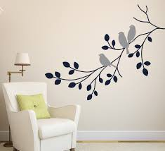... Aliexpress Grey Sticker Wall Art Decals Birds Staying On The Branches  Leaves White Fabric Chair Single ...