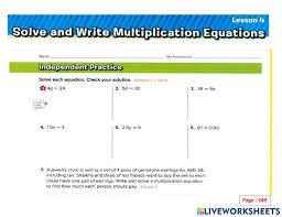 multiplication equation worksheet