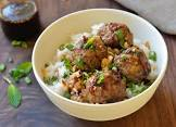 meatballs with satay dipping sauce