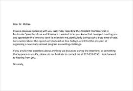 Awesome Collection Of Thank You Letter For Interview Easy Sample