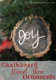 chalkboard wood slice ornaments diy
