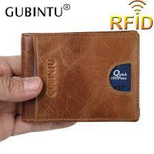 2019 gubintu men genuine leather money clip rfid blocking wallet for male flat wallet mens front pocket wallet portefeuille homme from dhcomcn