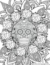 Sugar Skull Coloring Pages For Adults Free Download Jokingartcom