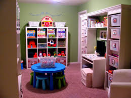 Interior:Astounding Basement Kids Playroom Design With Purple Wall Paint  Also Table Play Plus Corner