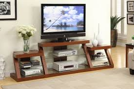 tv stand with side shelves in dark oak finish