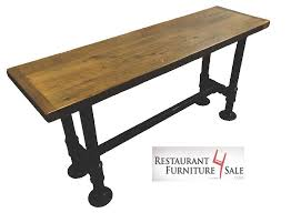 2 quot black iron pipe restaurant table base supports a 30 quot x 60 quot top 3